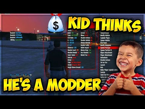 KID THINKS HE'S A MODDER ! (GTA 5 Funny Trolling)
