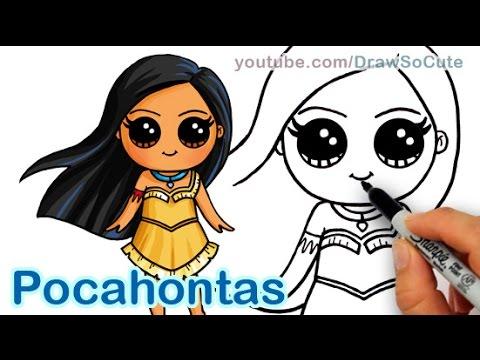 How to Draw Disney Princess Pocahontas Cute step by step ...