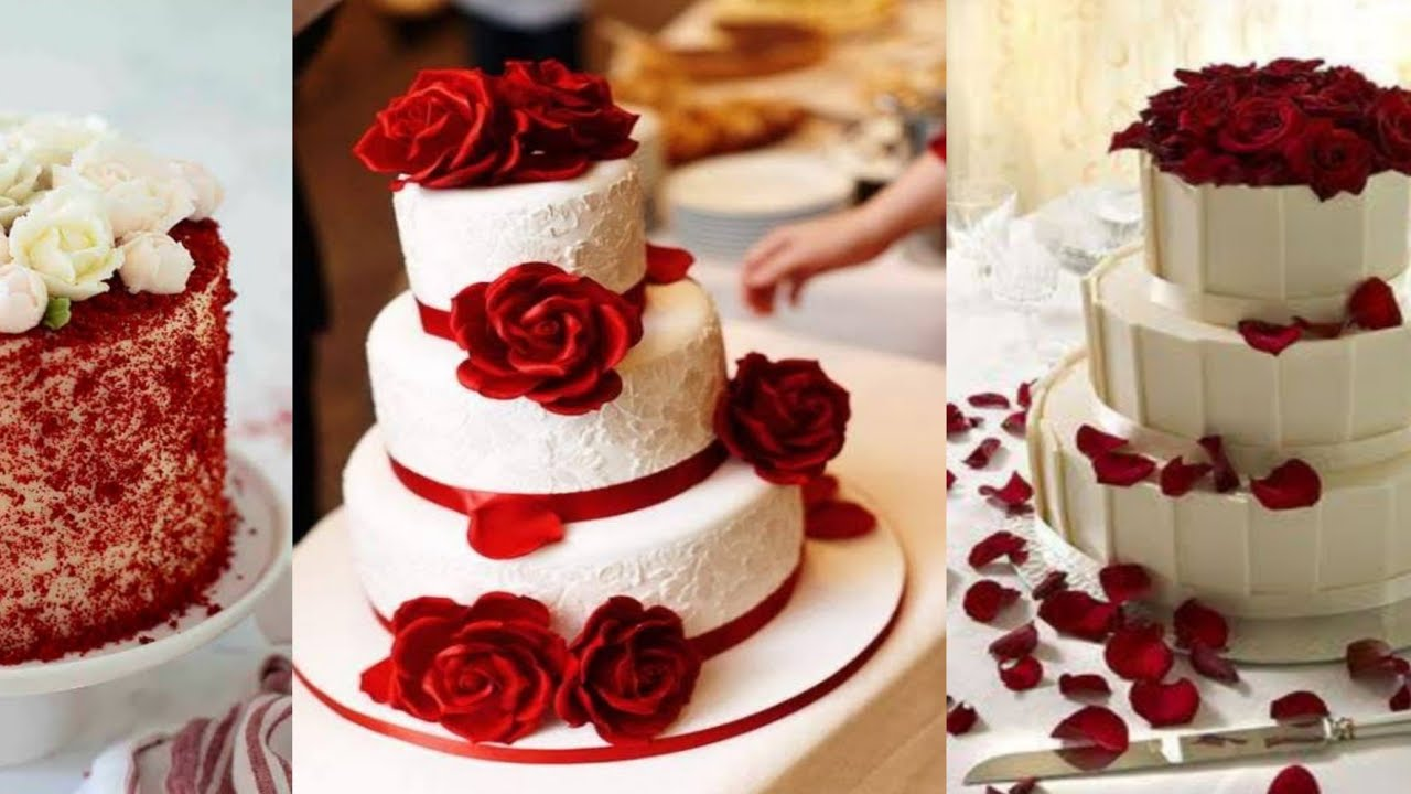 Red And White Colour Cake Designs Youtube
