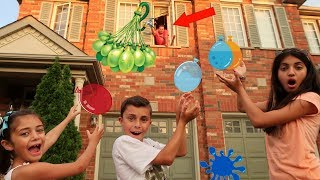 Kids Catch the Water Balloon Challenge ! Family Fun Video