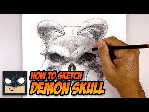 How To Draw A Demon Skull | Halloween Tutorial thumbnail
