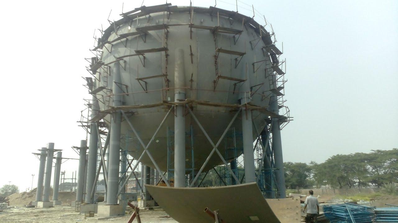Construction Gas Tank : India s biggest lpg auto gas spherical tank construction