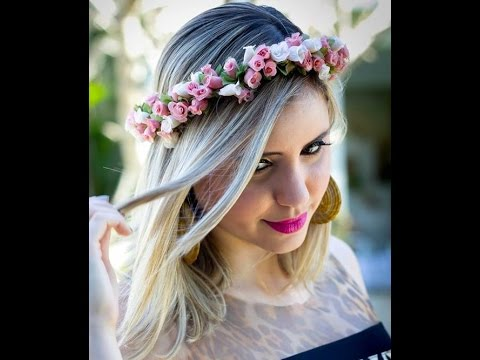 7344648fb6572 Como fazer uma coroa de flores por Dani Condeixa - YouTube