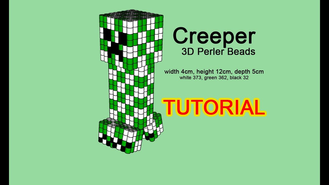 3D Perler beads Minecraft Creeper Tutorial pattern Hama Beads Pyssla