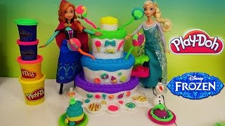 Play Doh Sweet Shoppe Cake Mountain With Barbie Elsa Anna And Olaf  From Frozen Play-doh