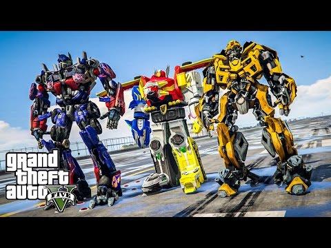 รวมพลังหุ่นยักษ์พิทักษ์โลก !!! (Megazord Optimus Bumblebee MOD GTA5)