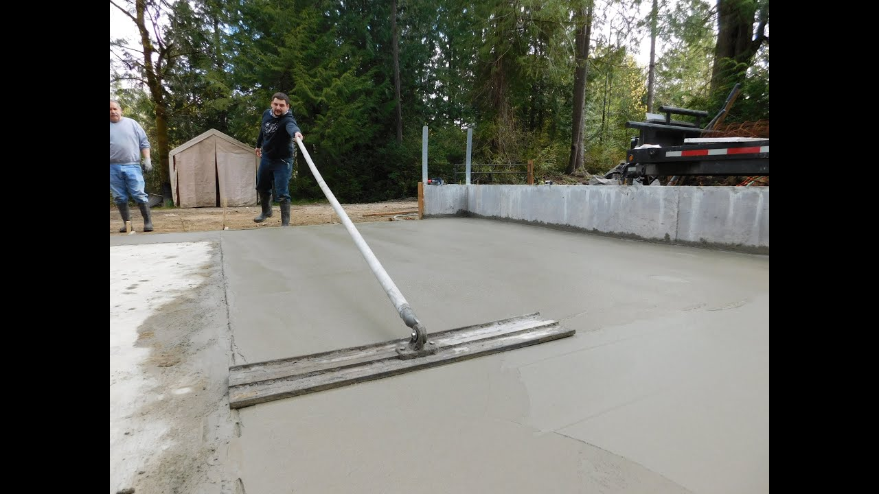 Build my garage 9 pouring the concrete slab youtube for Pouring your own concrete driveway