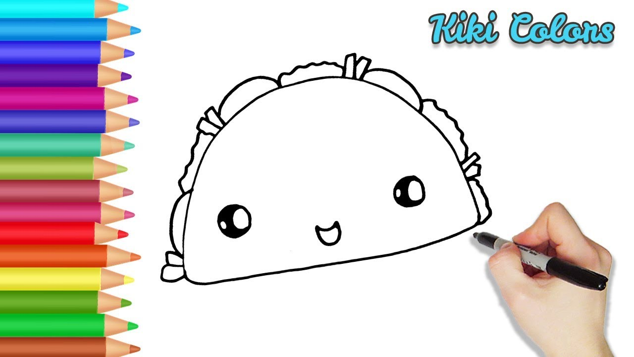 How to Draw Cute Taco Part 1   Teach Drawing for Kids and ...