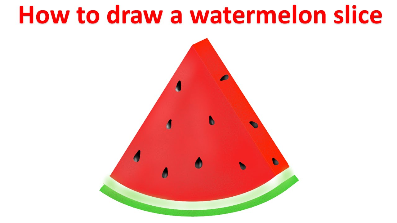 How To Draw A Watermelon Slice Youtube