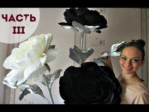 Просто огромные черные розы из гофрированной бумаги