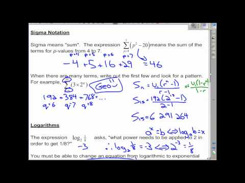 IB Math SL Algebra Review - Topic 1 (Sequences, Series, Logs, Binomial Expansion)