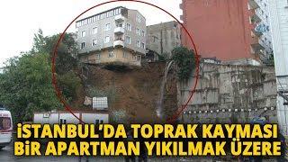 Beyoğlu Sütlüce'de Toprak Kayması Sonucu Bina Çökme Tehlikesi Yaşıyor