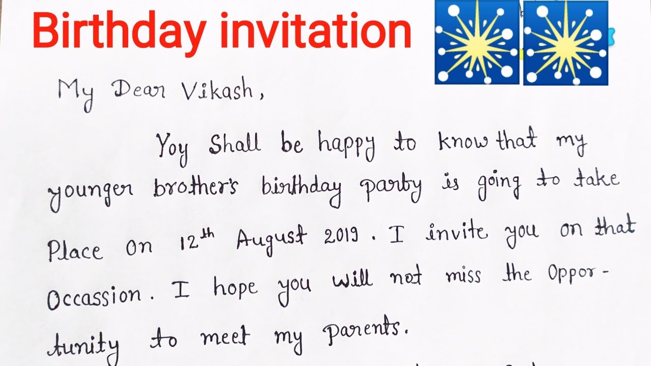 Write A Letter For Your Birthday Party Invitation Youtube