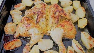 Жареная курица-бабочка в греческом маринаде. Идея обеда.