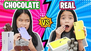 REAL VS CHOCOLATE FOOD CHALLENGE | Last To STOP Eating Wins! | Tran Twins