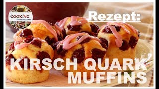 Kirsch Quark Muffins   schnelle und einfache Muffins backen - Rezept