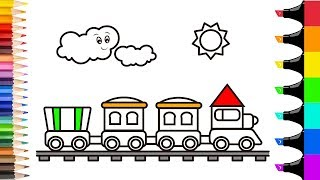 How to draw Choo choo train Sun and cloud Coloring pages for kids