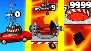 HOW STRONG IS THE HIGHEST LEVEL STRONGEST CAR WRECK EVOLUTION? (9999+ LAVA LEVEL) l Car Crusher