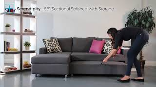 """Serendipity 88"""" Sectional Sofabed with Storage • Small Space Plus - Toronto"""