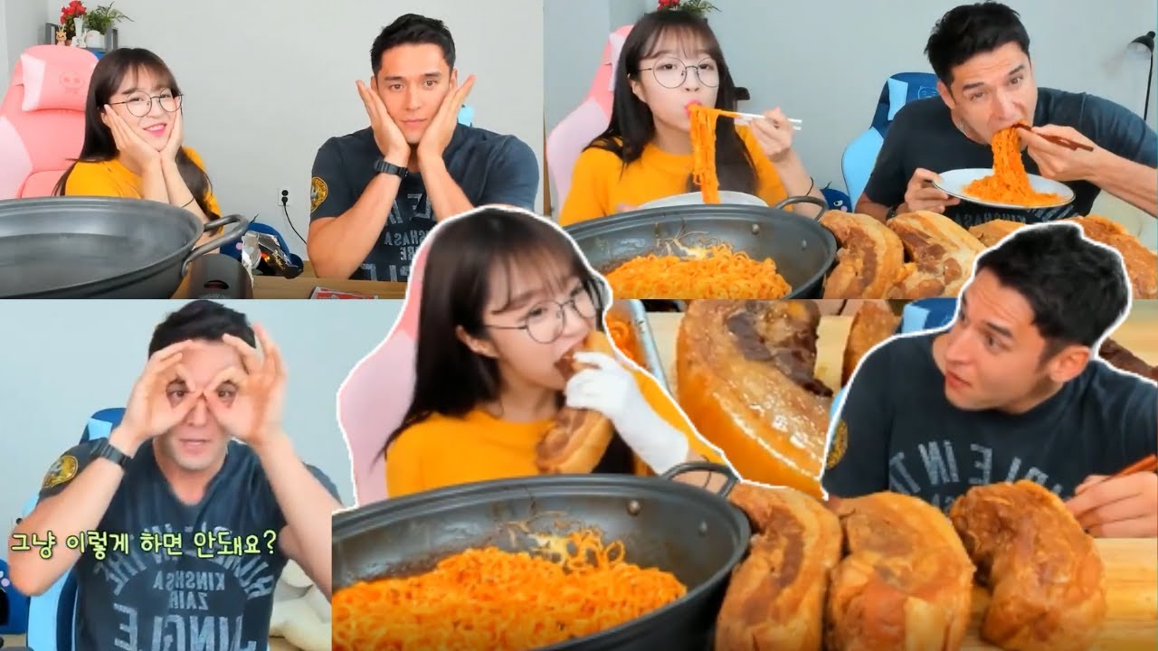 Celebrity at Tzuyang쯔양 House High Kick Through The Roof! First Guest Broadcast Korean Mukbang Show