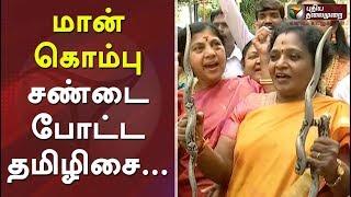 மான் கொம்பு சண்டை போட்ட தமிழிசை... உற்சாகத்தில் தொண்டர்கள்... | BJP Tamilisai Funny Video For Pongal