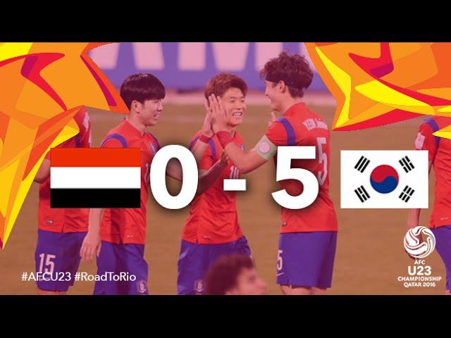 Video: U23 Yemen vs U23 Hàn Quốc