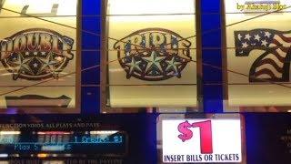 $100 LIVE PLAY -  Triple Double Stars 5 Lines $1 Slot Machine,  @ Pechanga [赤富士スロット] [カジノ] [勝負] [勝利]