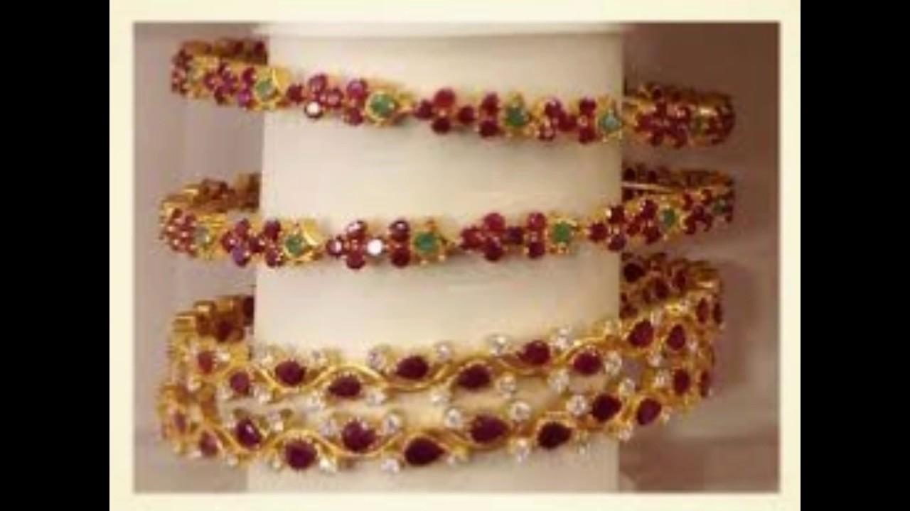 Trendy Gold Stone Bangle designs - YouTube