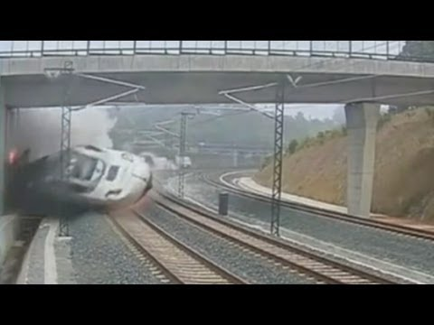 The moment of impact: Terrifying CCTV of Spain train crash near Santiago de Compostela