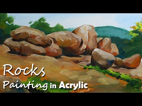 How to Paint Rocks & Stones in Acrylic | Acrylic Painting Tutorial
