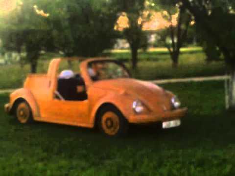 I saw wooden Volkswagen Beetle