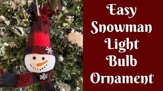 Easy Christmas Crafts: Easy Light Bulb Snowman Ornament