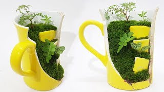 Cute Miniature Cup Garden | Miniature Garden in a Broken Teacup | T...