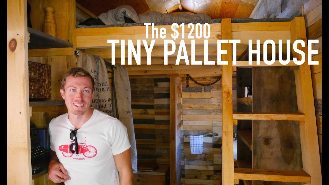 A 1200 14 Tiny House Made Of Pallet Wood Youtube