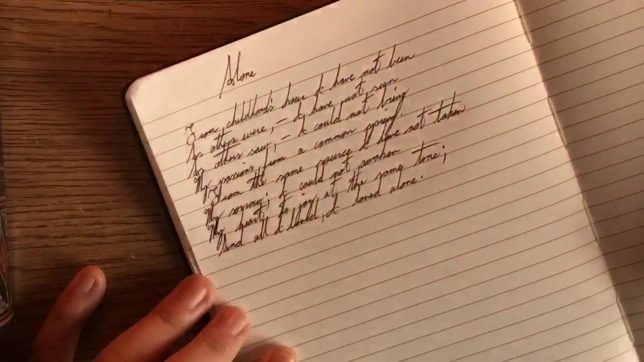 cursive handwritten poem by edgar allan poe youtube. Black Bedroom Furniture Sets. Home Design Ideas