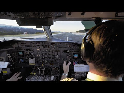 SPECTACULAR DHC-8-300 Cockpit Take Off From Frosty Kristiansund Airport