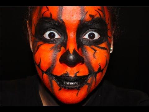 Pumpkin Head Halloween Makeup tutorial | Enshlie Melendez - YouTube