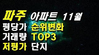 경기도 파주아파트 11월 평당가 순위변화, 거래량 TO…