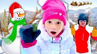 Nastya und papa haben Spaß in den Winterferien