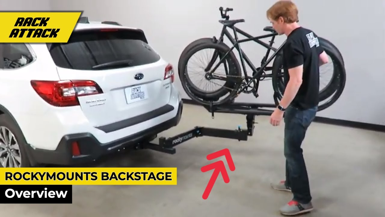 rockymounts backstage swingaway platform bike hitch rack overview
