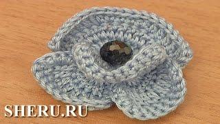 Crochet 3D Violet Flower Урок 98 Объемная вязаная фиалка