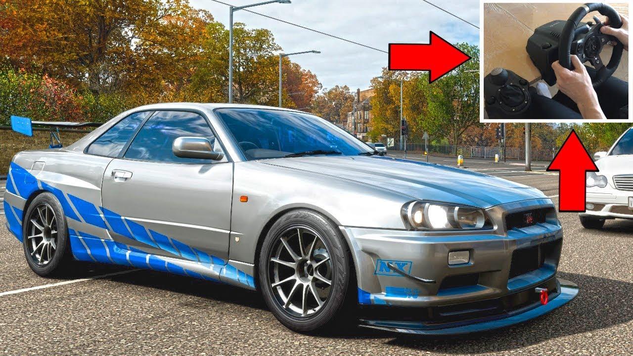 Forza Horizon 4 Paul Walker Nissan Skyline R34 Gt R Steering Wheel Shifter 2 Fast And 2 Furious Youtube