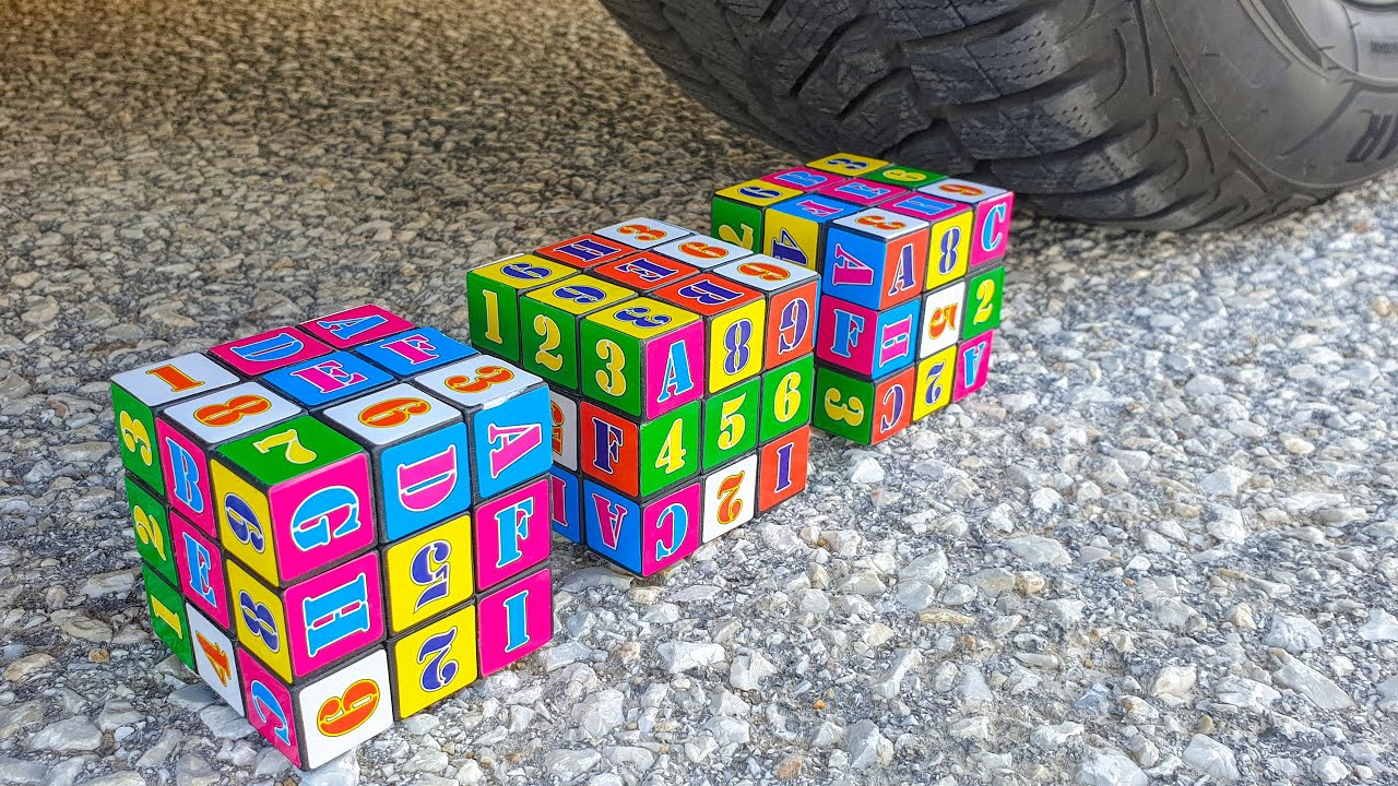 Crushing Crunchy & Soft Things by Car! EXPERIMENT CAR vs Rubik's Cubes