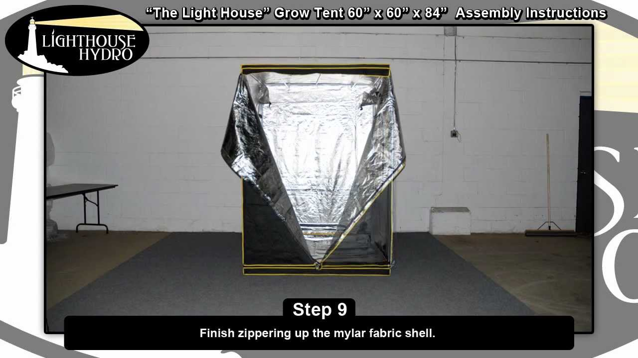 Lighthouse Hydro Grow Tent - 5u0027 x 5u0027 x 7u0027 Assembly Instructions - YouTube & Lighthouse Hydro Grow Tent - 5u0027 x 5u0027 x 7u0027 Assembly Instructions ...