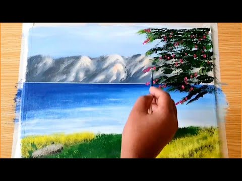 How to paint easy and simply landscape acrylic painting/demonstration.