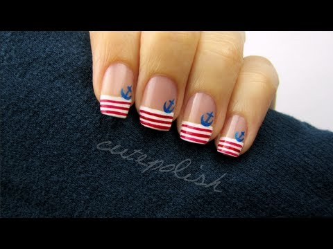 Cute Nautical Nail Art - YouTube