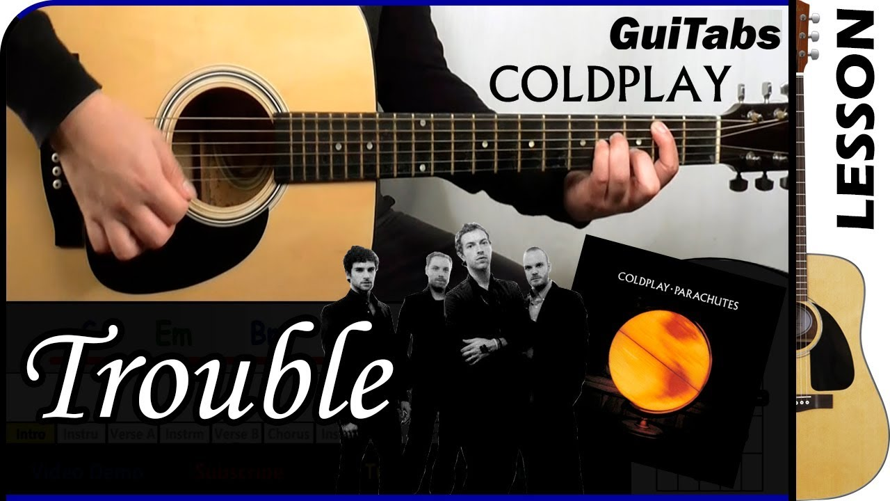 How To Play Trouble Coldplay Guitar Tutorial Youtube