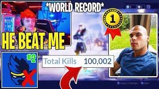 Ninja Reacts to HighDistration *HITTING* 100K Fortnite Kills Before Him!! (WORLD RECORD)