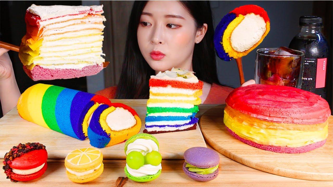 무지개 디저트 🌈 레인보우 케이크 마카롱 먹방/RAINBOW DESSERT FEAST 💜 CAKES AND MACARON MUKBANG レインボーケーキマカロン Kue pelangi