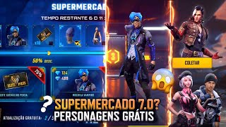 PERSONAGENS DE GRAÇA NO ANIVERSÁRIO, LOJA SUPERMERCADO 7.0? NOVA RECARGA E MAIS!! FREE FIRE